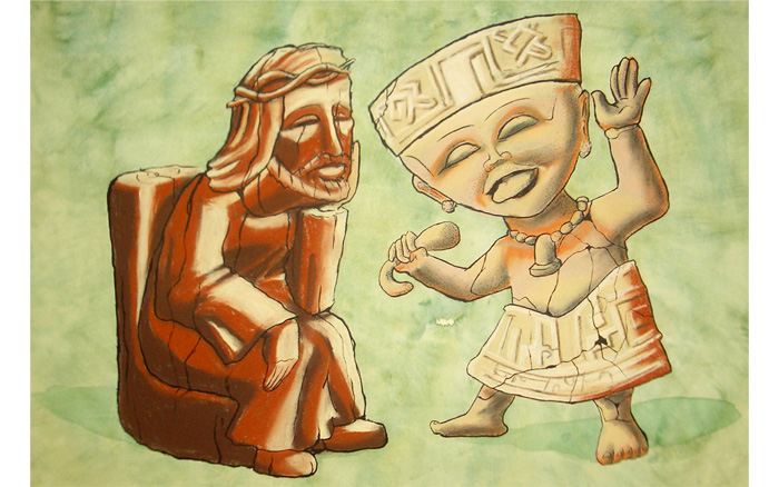 Wooden Christ and Ceramic Mayan